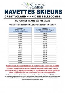 Horaires du Ski Bus - Liaison Crest-Voland Cohennoz / Notre Dame de Bellecombe - Hiver 2019-2020