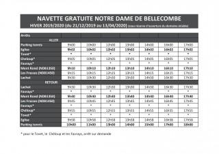 Horaires du Ski Bus - Notre Dame de Bellecombe - Hiver 2019-2020