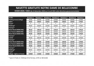 Horaires du Ski Bus - Notre Dame de Bellecombe - Hiver 2020-2021